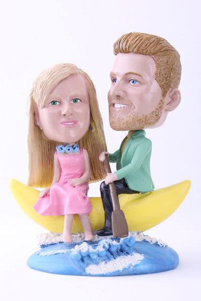 Couple Enjoying Time Together on a Banana Boat Bobblehead