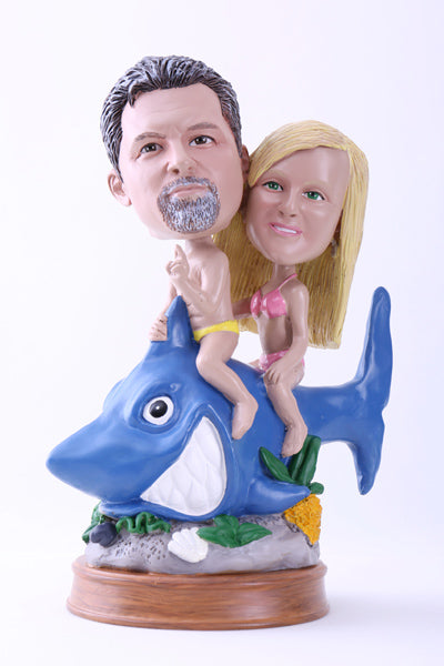 Couple Riding a Shark Bobblehead