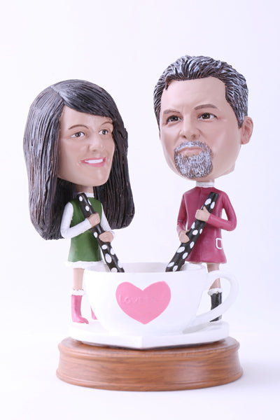 Couple Sharing a Drink Bobblehead