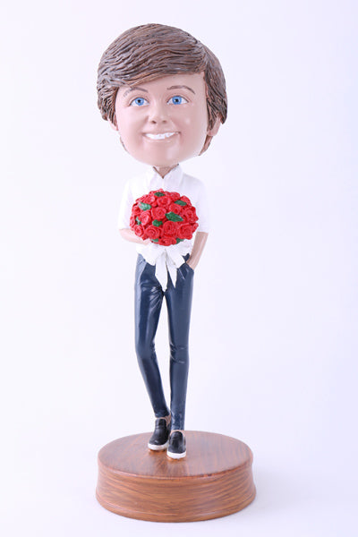 Guy Holding Flowers Bobblehead