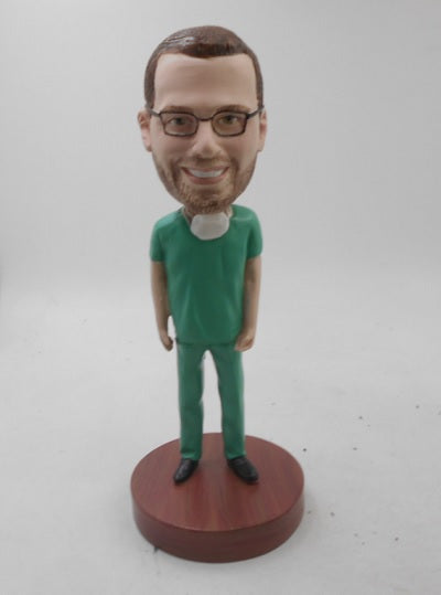 Male Nurse in Scrubs Bobblehead