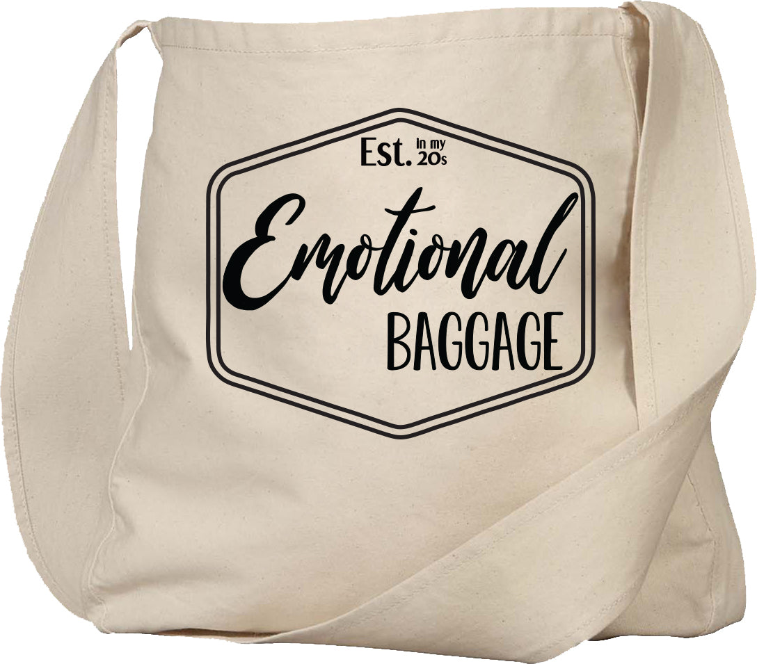 emotional baggage, established in my 20s tote bag