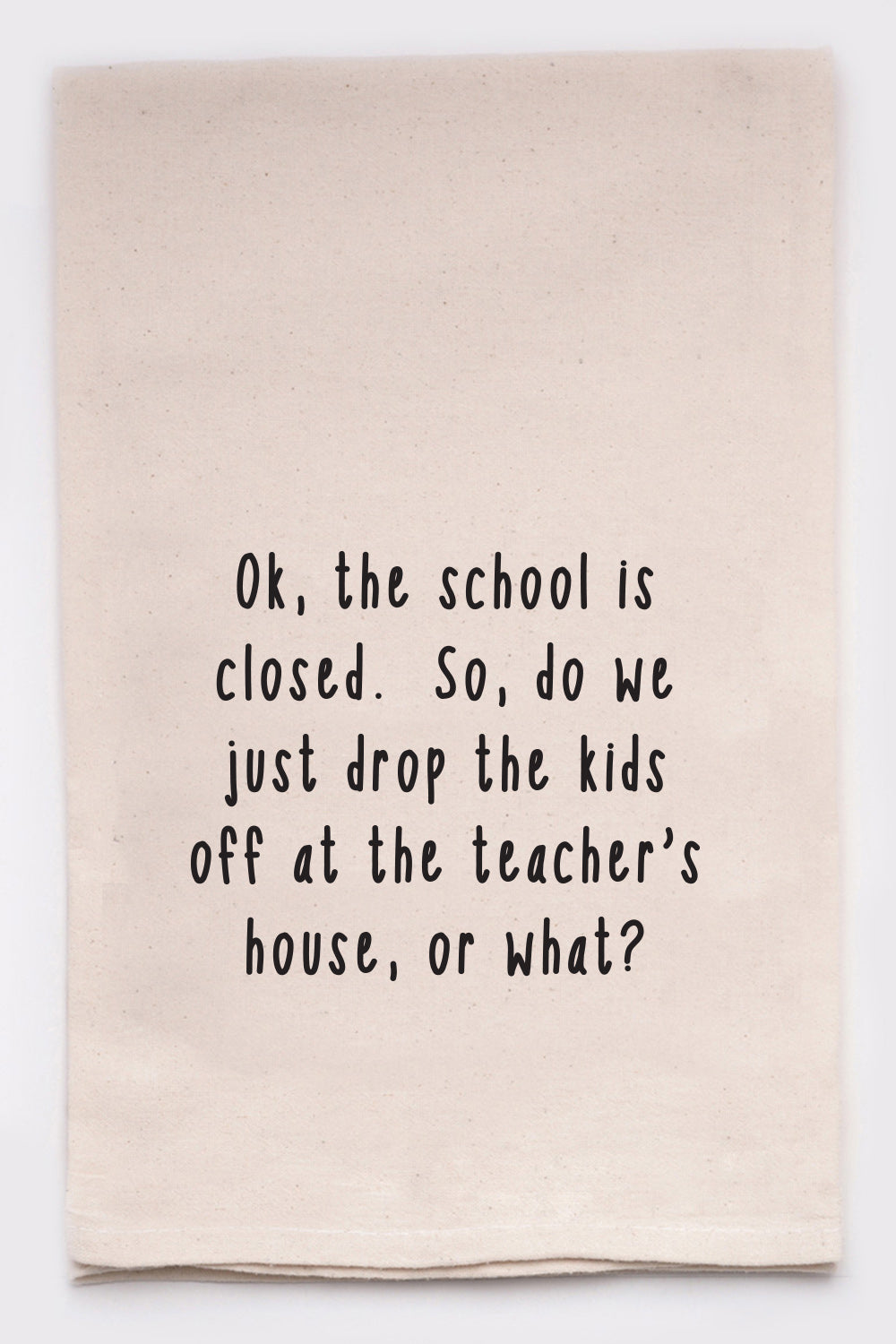 Ok, the school is closed. So, do we just drop the kids off at the teacher's house, or what?