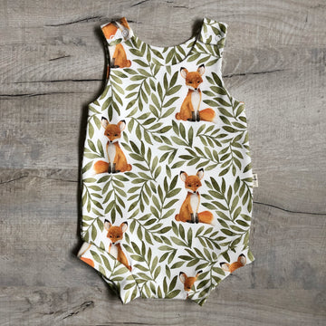 Fox and Leaves Bloomer Romper
