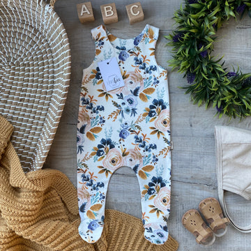Mustard Floral footed Romper