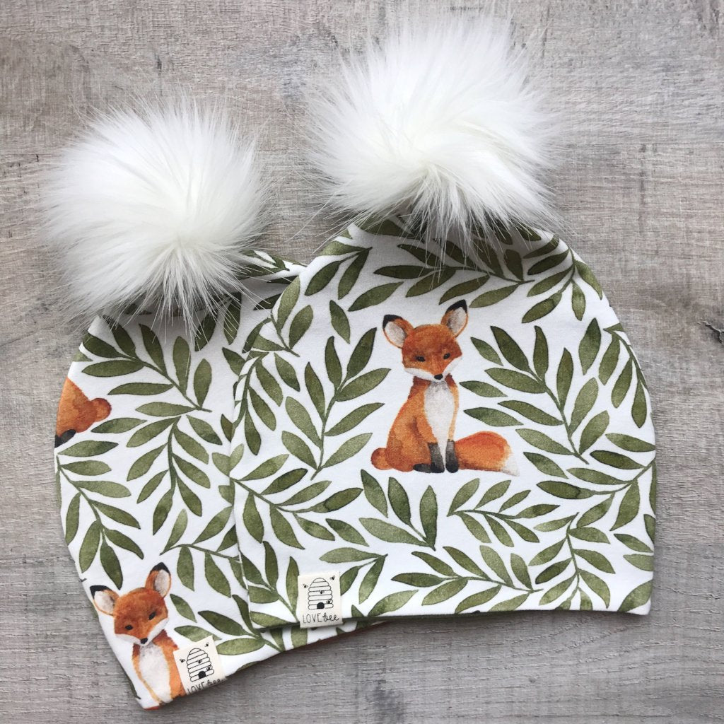 Fox and Leaves Bobble Hat