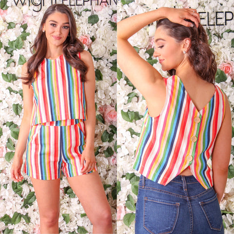 Awestruck Buttoned Back Striped Tank & Gaze in Wonder Striped Shorts