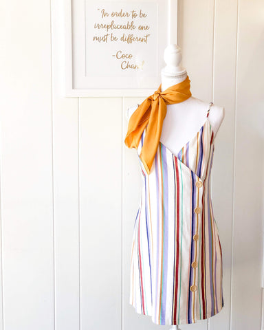 Cute As A Button Striped Dress & Dreamy Hair Scarf - Mustard