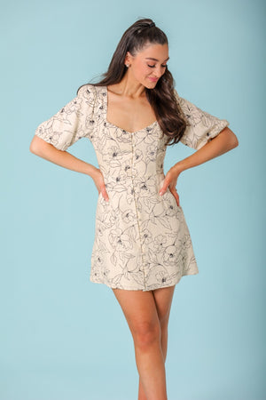 Spring Blossom Sweetheart Puff Sleeve Mini Dress - Dresses - Wight Elephant Boutique