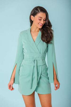 Noelle Belted Blazer Mini Dress - Dresses - Wight Elephant Boutique