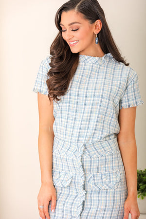 Colorful Cutie Plaid Tweed Top