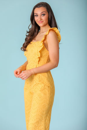 Time Goes By Eyelet Ruffle Jumpsuit - Yellow - Jumpsuits - Wight Elephant Boutique