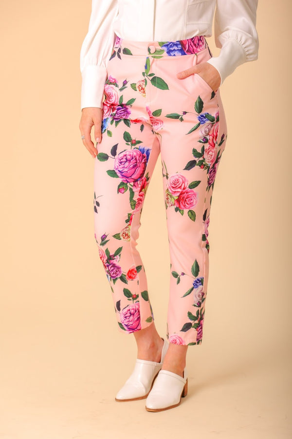 Dahlia Floral Print Cropped Trousers