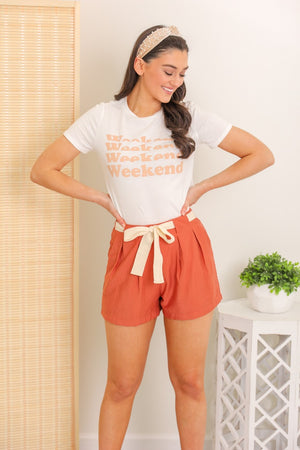Get Outta Town Belted Shorts - Brick