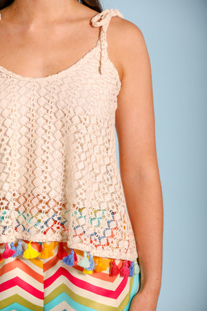 Leave Your Mark Crochet Pajama Top