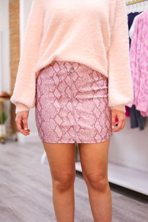 Hiss of Bliss Pink Snakeskin Skirt