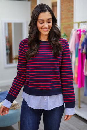 Better Together Striped Sweatshirt - Tops - Wight Elephant Boutique