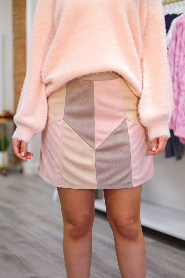 Blush of the Cheek Color Blocked Skirt - Skirts - Wight Elephant Boutique