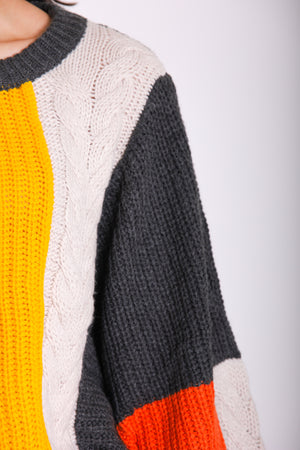 Off the Beaten Path Color Block Sweater
