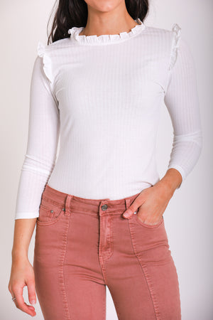 Ribbed Ruffle Mock Neck - White