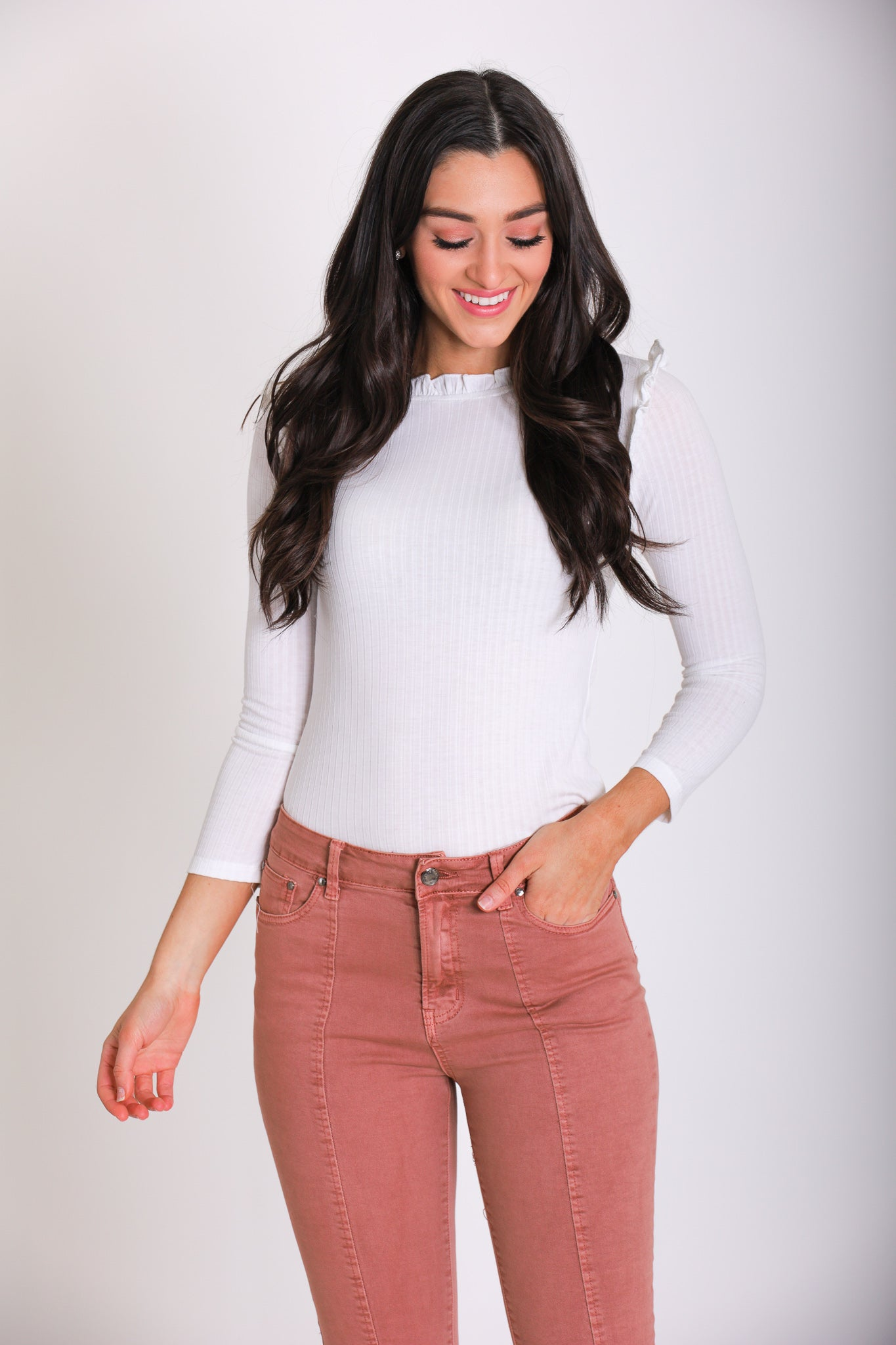 Ribbed Ruffle Mock Neck - White - Tops - Wight Elephant Boutique