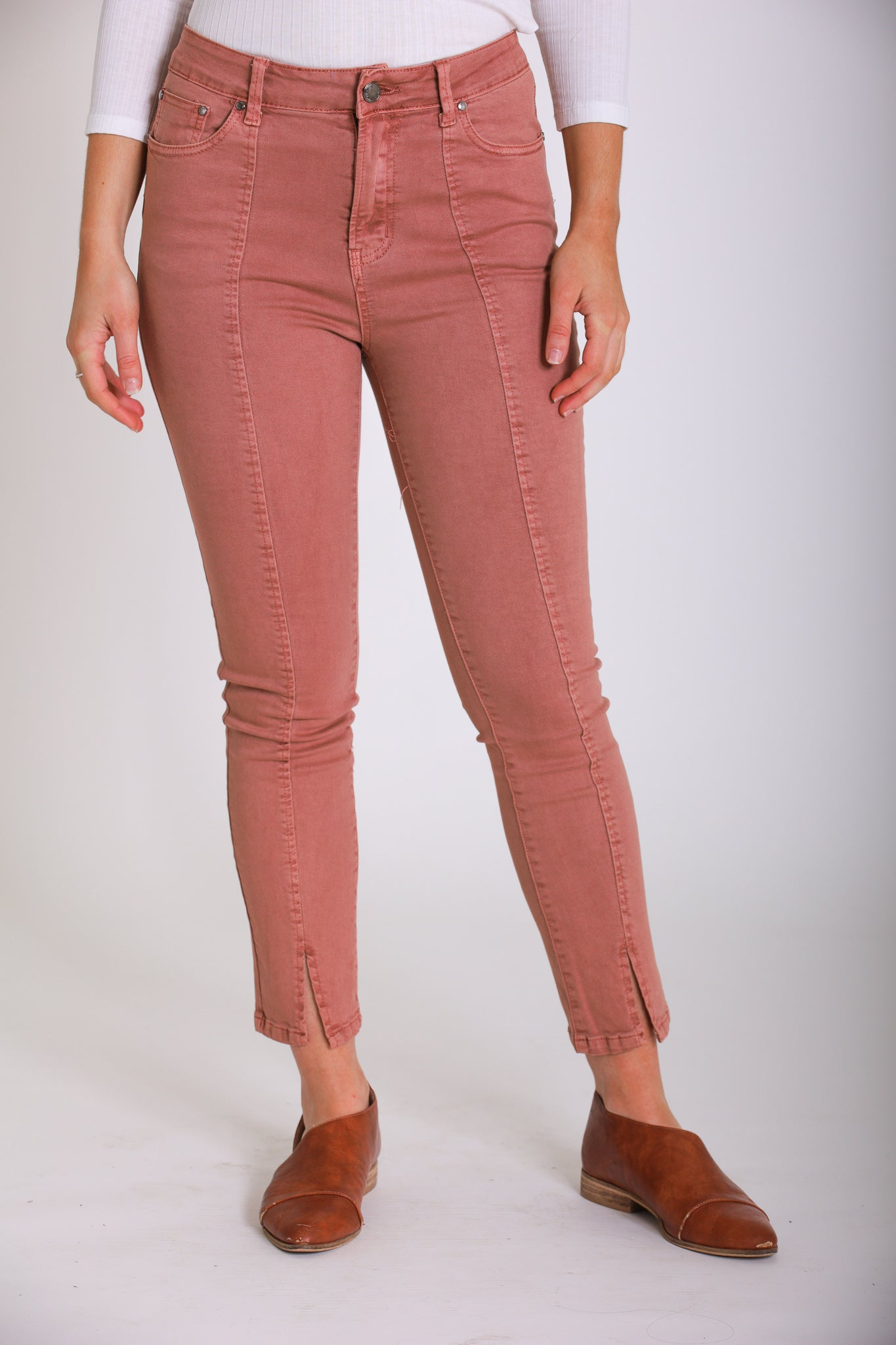 Made for You Cropped Jeans - Salmon - Pants - Wight Elephant Boutique