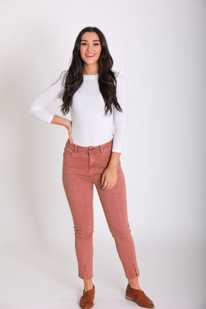 Made for You Cropped Jeans - Salmon
