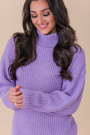 Wreath of Lavender Oversized Sweater - Dresses - Wight Elephant Boutique