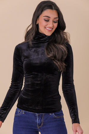 Chic and Sleek Velvet Mock Neck Top - Tops - Wight Elephant Boutique