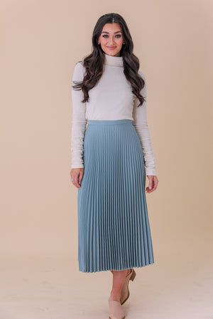 Waves of Wonder Seafoam Green Hard Pleated Skirt - Skirts - Wight Elephant Boutique