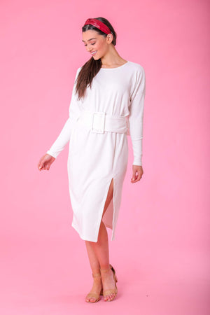 Cloudy Day Belted Sweater Dress - Dresses - Wight Elephant Boutique