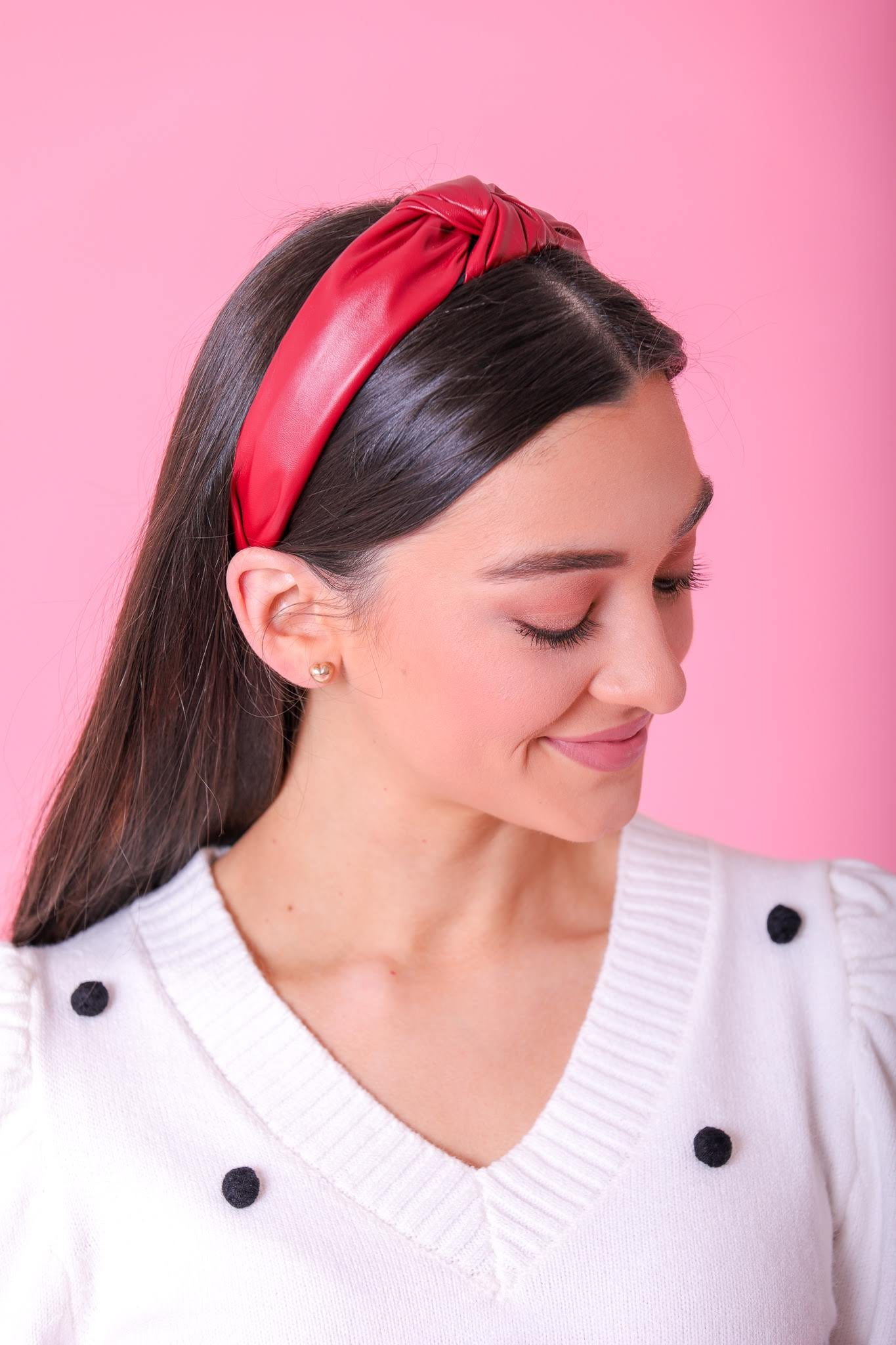 Faux Leather Top Knot Headbands - Red - Hair Accessories - Wight Elephant Boutique