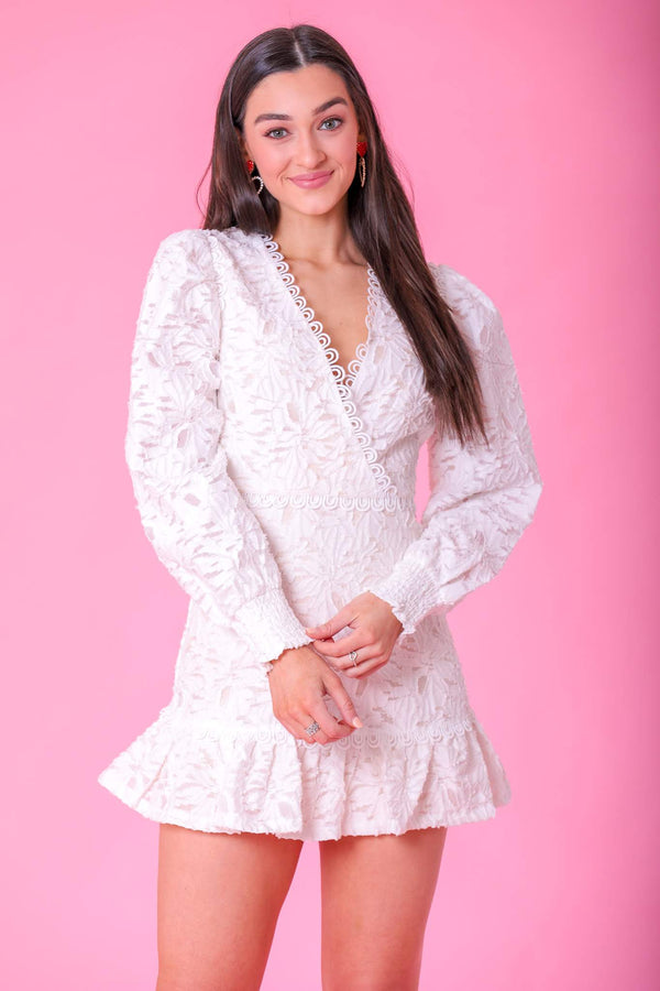 Aphrodite White Lace Mini Dress - Dresses - Wight Elephant Boutique