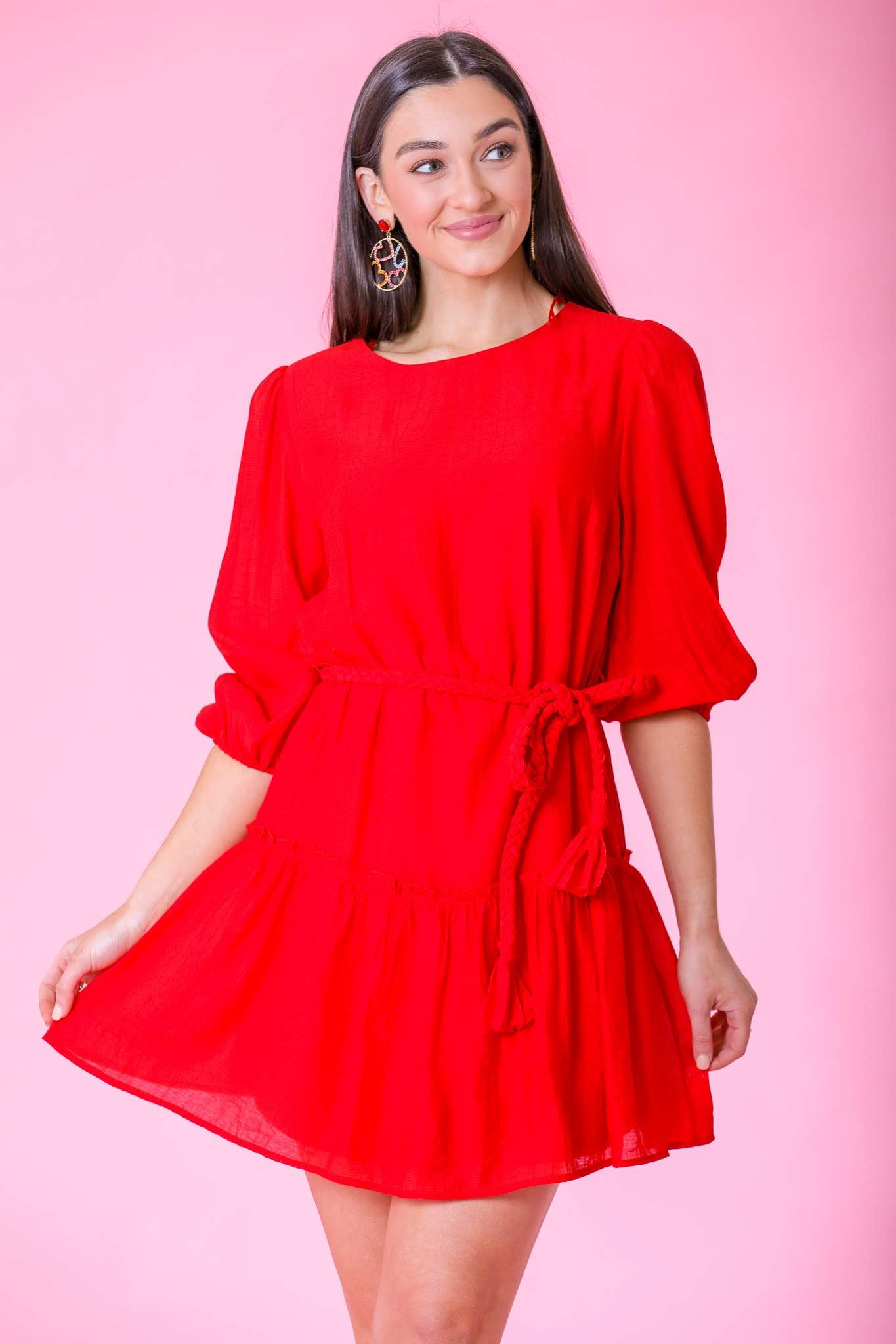 Rose Red Ruffle Hem Rope Belt Dress - Dresses - Wight Elephant Boutique