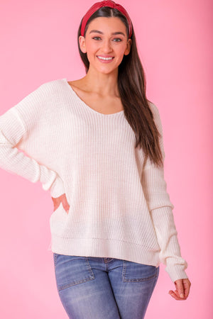 Flirty Wink Heart Back Sweater - Tops - Wight Elephant Boutique
