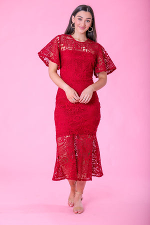 Persephone Red Lace Midi Dress - Dresses - Wight Elephant Boutique
