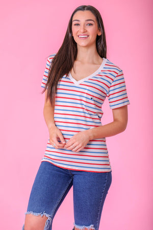 Look of Love Heart Embroidered Tee - Striped - Tops - Wight Elephant Boutique