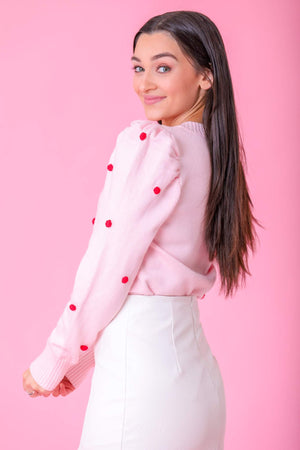 Delicately Detailed Pom Puff Shoulder Sweater - Pink - Tops - Wight Elephant Boutique