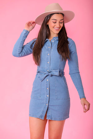 Sunny Days Light Stonewash Tie Waist Denim Dress - Dresses - Wight Elephant Boutique