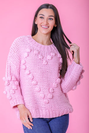 The Greatest Gift Heart Pom Sweater - Tops - Wight Elephant Boutique