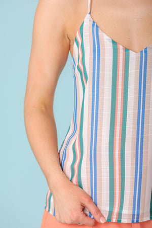 Out On the Water Striped Caged Back Cami Top - Tops - Wight Elephant Boutique