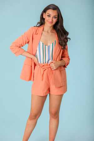 Sunset in Spring Ruched Sleeve Linen Blazer - Tops - Wight Elephant Boutique