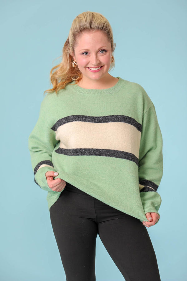 Road Less Traveled Striped Pullover Sweater - Tops - Wight Elephant Boutique