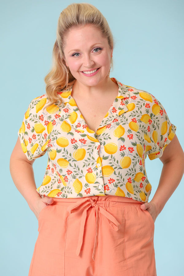 Sweet and Sour Lemon Printed Buttoned Shirt - Tops - Wight Elephant Boutique