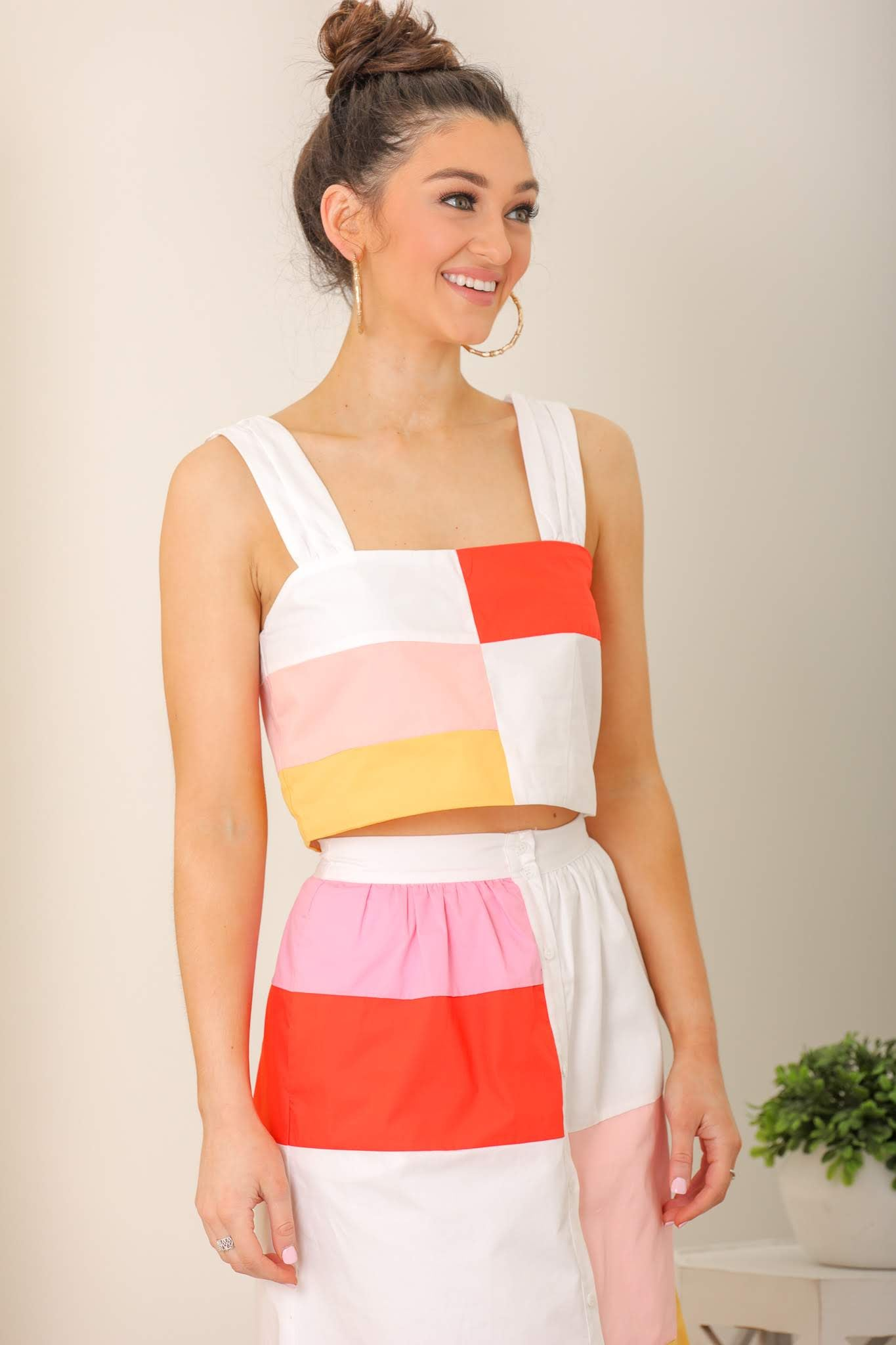 Build Your Dream Color Block Crop Top