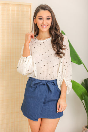Innocent Daydreams Balloon Sleeve Blouse - Ivory