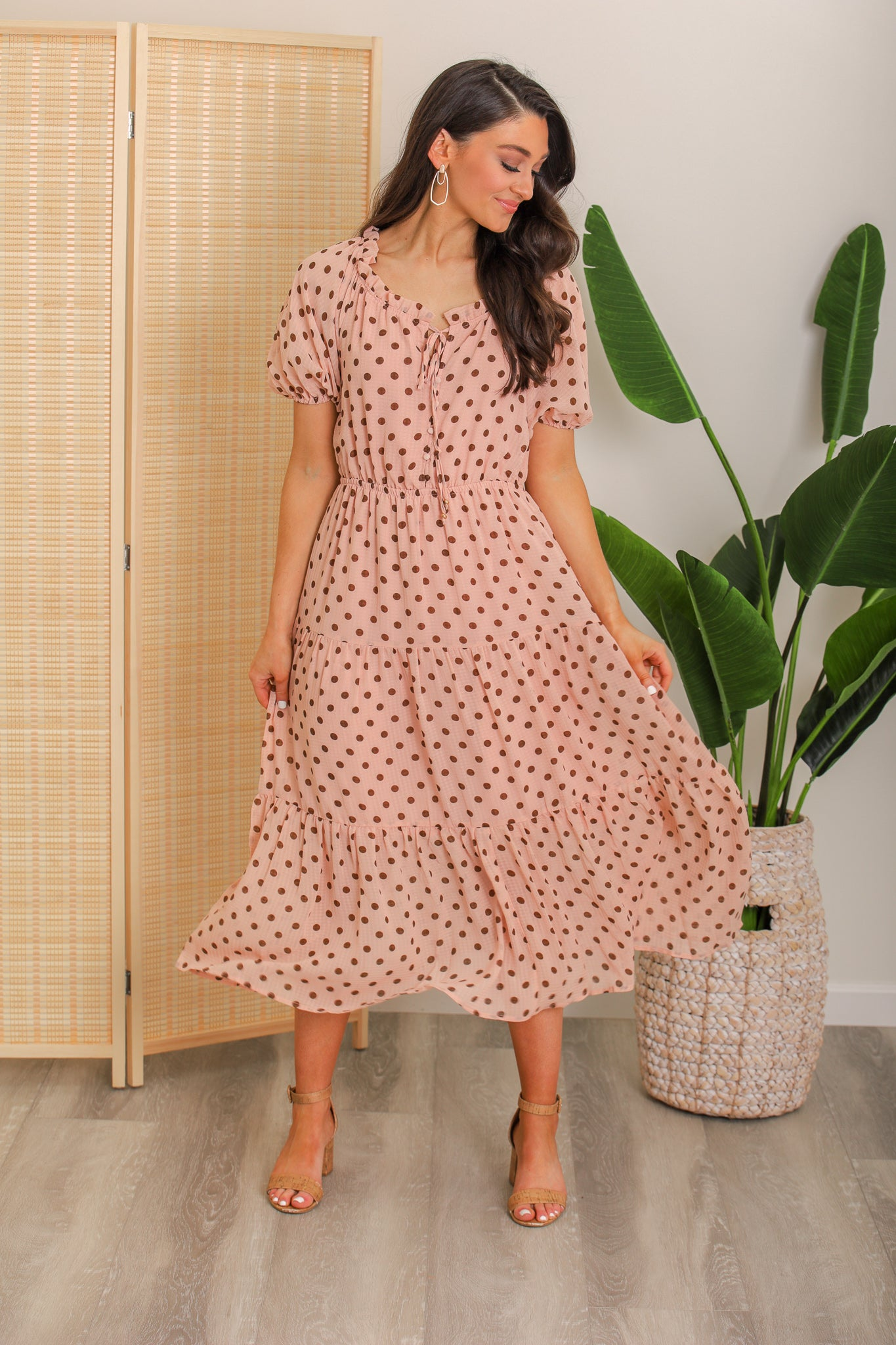 Take Me Away Polka Dot Midi Dress