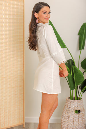 Cloudless Day White Linen Dress