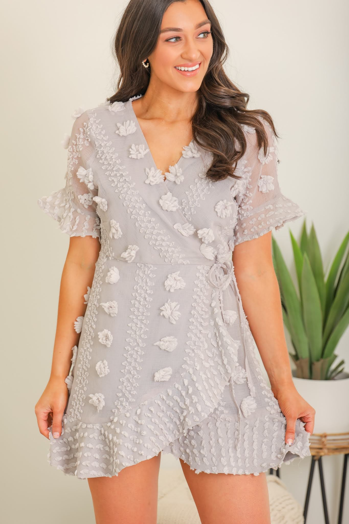 Hold Your Head Up High Pom Wrap Dress