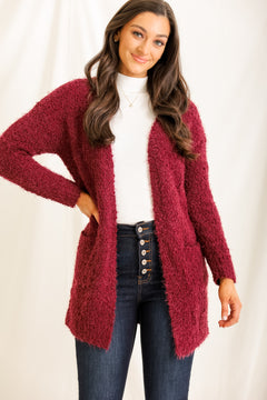 Wrap Me Up Popcorn Cardigan - Wine